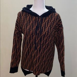 Stretchy knit Long sleeve hoodie pullover Designer